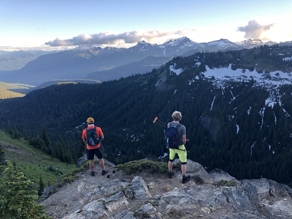 "Myself and Erik overlooking Rainier National Park from the ""short"" section of the Wonderland Trail."