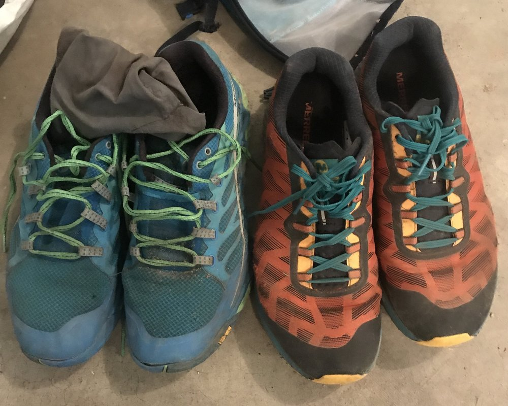 Merrell All Out Peak & Gaiters (Left) I used for 67 Miles, Agility Synthesis Flex (Right) worn for the first 30 miles.
