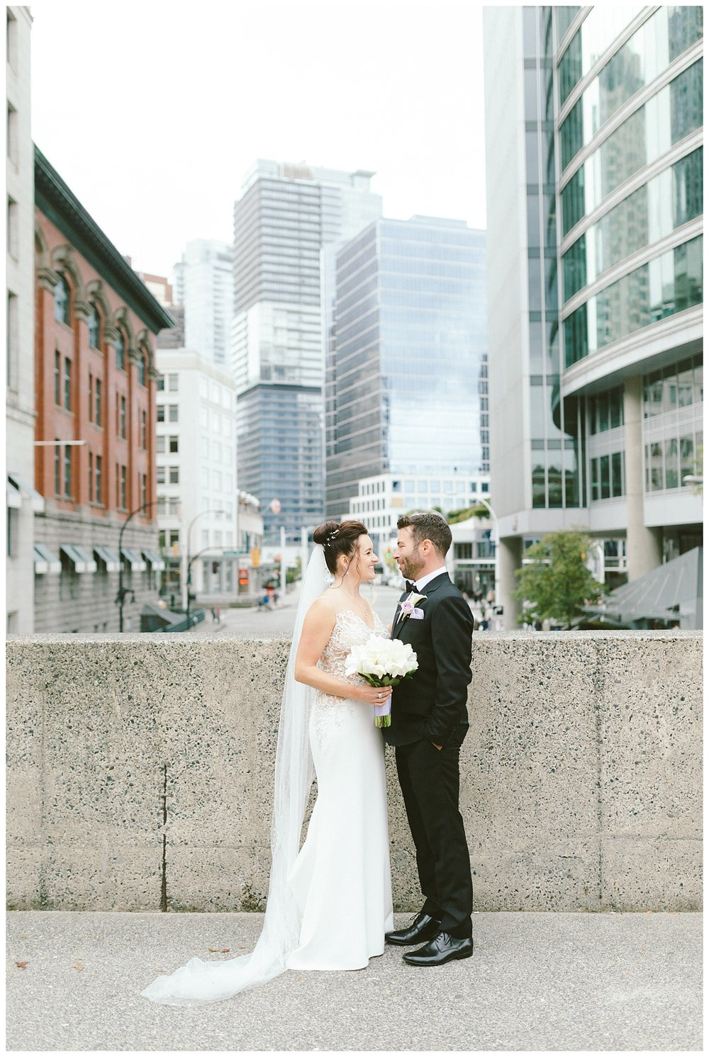 Wedding prewedding photos downtown Vancouver BC (Gastown)