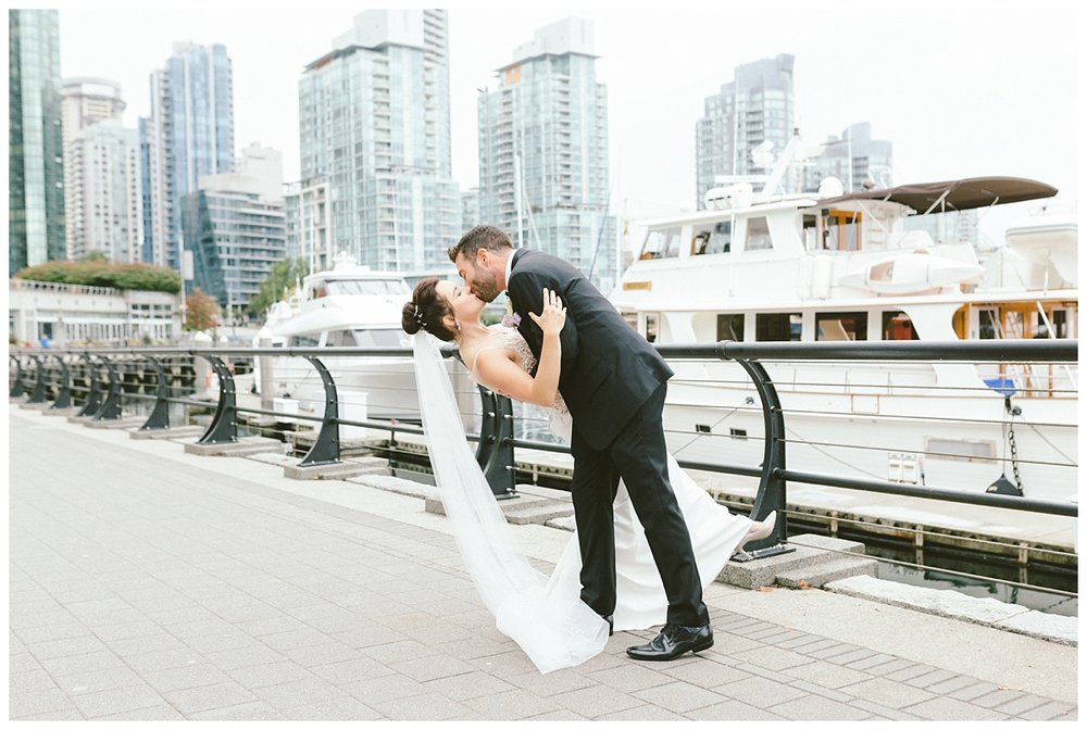 Wedding prewedding photos downtown Vancouver BC (Coal Harbour)