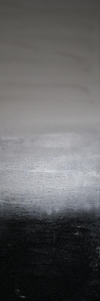 blacksandbeach. 60x20. pigment. acrylic + sand. 2012.