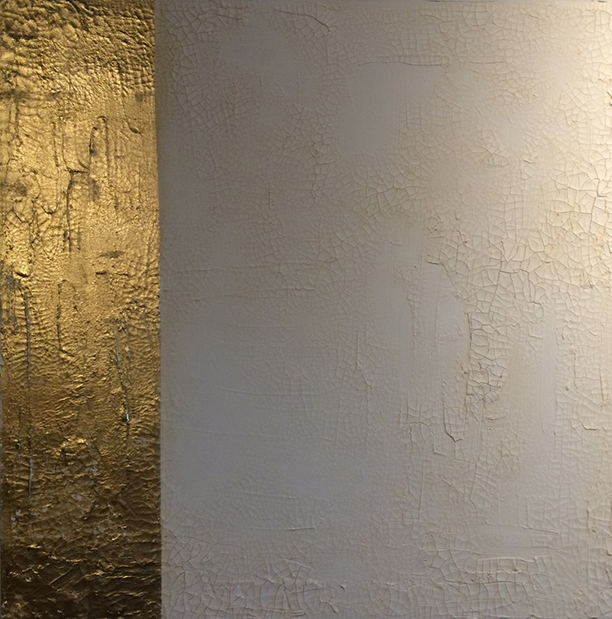 goldluster2. 36x36. gold leaf. texture + pigment. 2015.