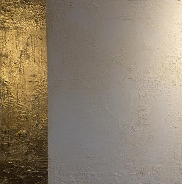 goldluster2. 36x36. gold leaf. texture + pigment. 2015.
