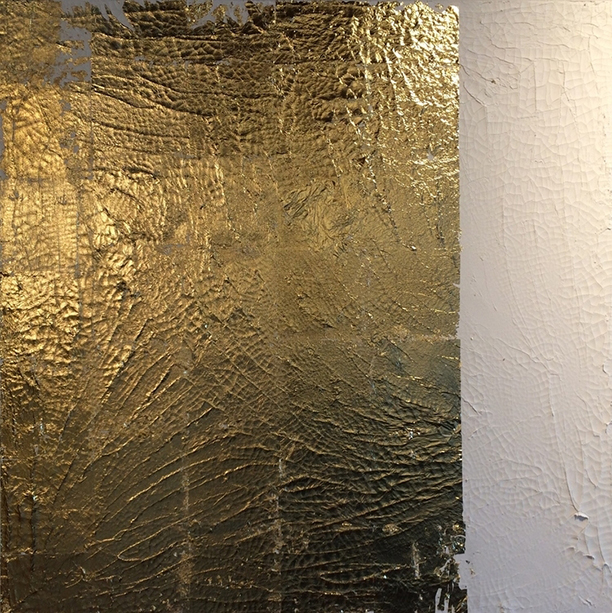 goldluster1. 36x36. gold leaf. texture + pigment. 2015.