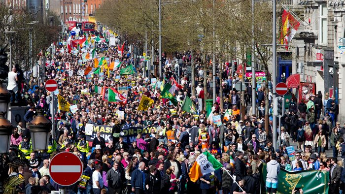 Anti water charge demonstration O'Connell Street, Dublin on Saturday April 18,2015