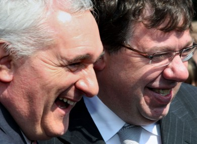 Former Fianna Fail Taosigh Bertie Ahern and Brien Cowen Image: Peter Morrison