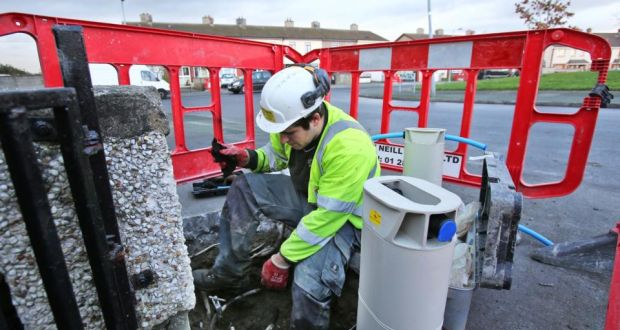 Workers install water meters in houses in the Fortlawn Estate near Blanchardstown, west Dublin. File photograph: Colin Keegan/Collins Dublin