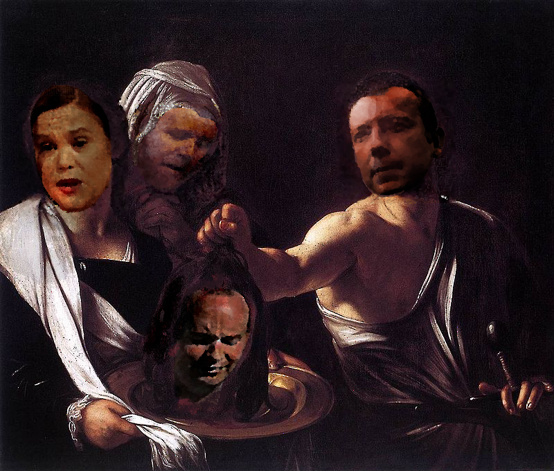 Caravaggio's Salome with a twist. Salome took no joy in it.