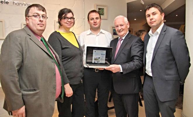 (l to r): Concubhar Ó LIatháin, CeangalG Marketing Manager, Claire Nic Neacail, Alasdair Morrison CeangalG Director, Dinny McGinley Fine Gael TD and Fionbar Ó Baoill – CeangalG Training Manager.