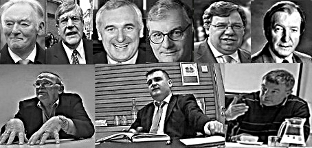 In good company(left to right)  Top; Padraig Flynn,  Ray Burke, Bertie Ahern, Liam Lawlor, Brien Cowan, Charles Haughey.  Bottom; Hugh McElbaney, John O'Donnell, Joe Queenan