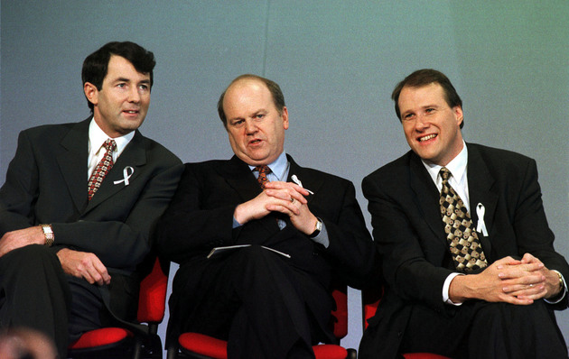 Michael Lowry with former cabinet colleagues Michael Noonan and Ivan Yates at the Fine Gael Ard Fheis in 1996