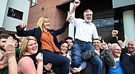 Gerry Adams and SF President Imelda Munster: celebration