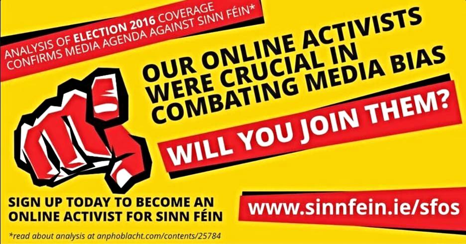 Sinn Fein recruitment centre for online activists  -  here at www.sinnfein.ie/sfos