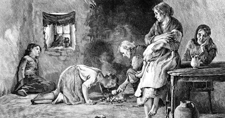 To support the famine relief effort, British tax policy required landlords to pay the local taxes of their poorest tenant farmers, leading many landlords to forcibly evict struggling farmers and destroy their cottages in order to save money. (Sketch: The Irish Famine: Interior of a Peasants Hut)