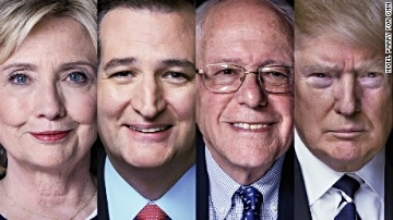 Hillary Clinton, Ted Cruz,  Berni Sanders and Donald Trump