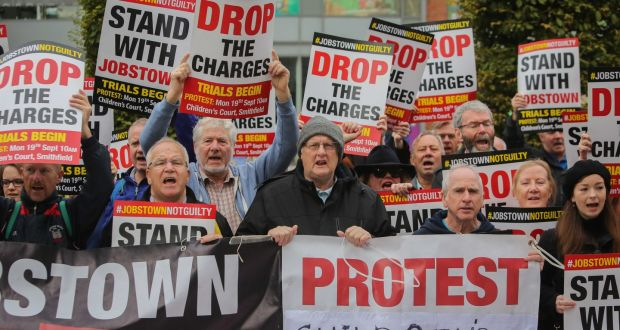 Protesters outside the Children's Court in Dublin's Smithfield during the trial of a 17-year-old for false imprisonment. Photograph: Gareth Chaney/Collins
