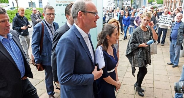 Simon Coveney arrives at a meeting with waste industry representatives in Tallaght, Co Dublin. Photograph: Eric Luke/The Irish Times