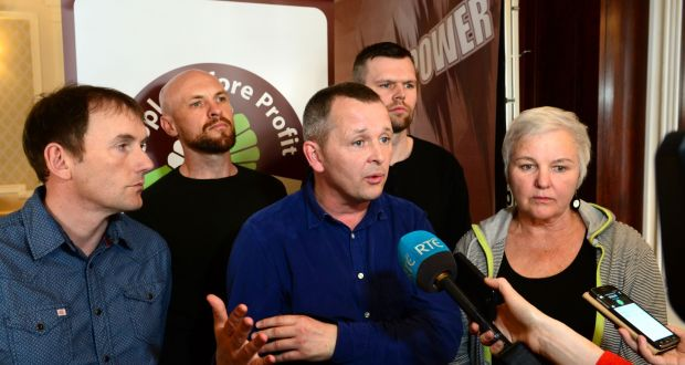 "Richard Boyd Barrett and others at the People Before Profit national conference in Wynn's Hotel, Dublin: ""The big wasters are the Government who have failed to fix the 40 per cent leaks in the water mains systems."" Photograph: Dara Mac Dónaill"