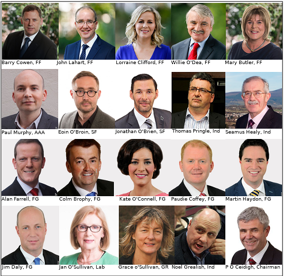 Twenty members of the Joint Oireachtas Committee on Future Funding of Domestic Water Services.  Top two rows were professed anti water charges, anti metering and anti Irish Water delegates.