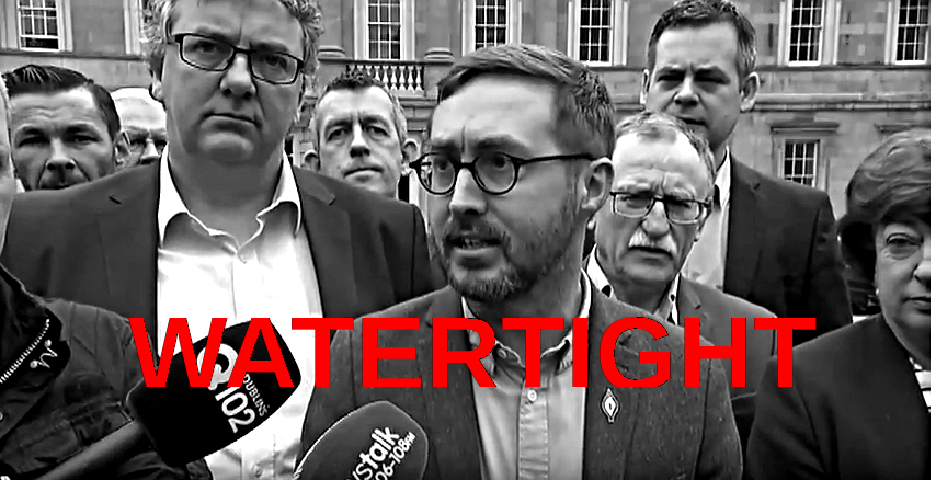 Photo;  RTE News Right2Water TDs declare victory on Dail plinth April 6 2017