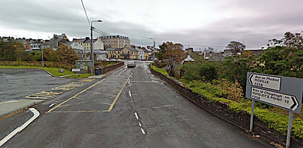 Moville, Inishowen, Co Donegal with the Caiseal Mara Hotel, large central building