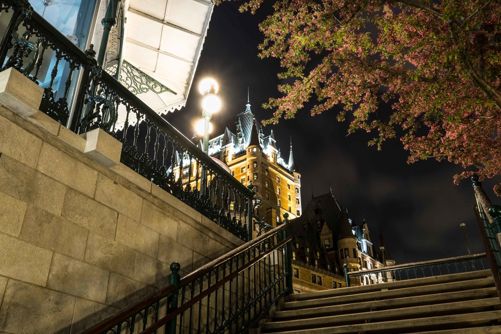 Chateau Frontenac with Cherry Blossoms