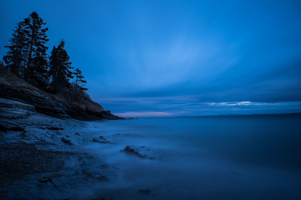 Blue Hour in Forillon National Park using Lee Filters Big Stopper for the soft water