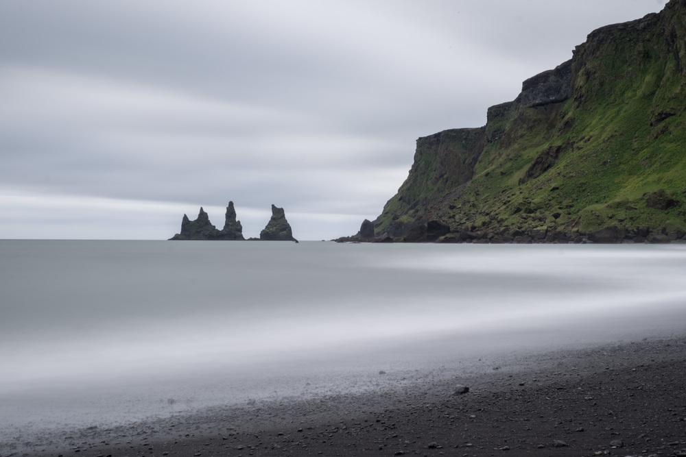 Vik Beach long exposure. Look at that black sand and those sea stacks!