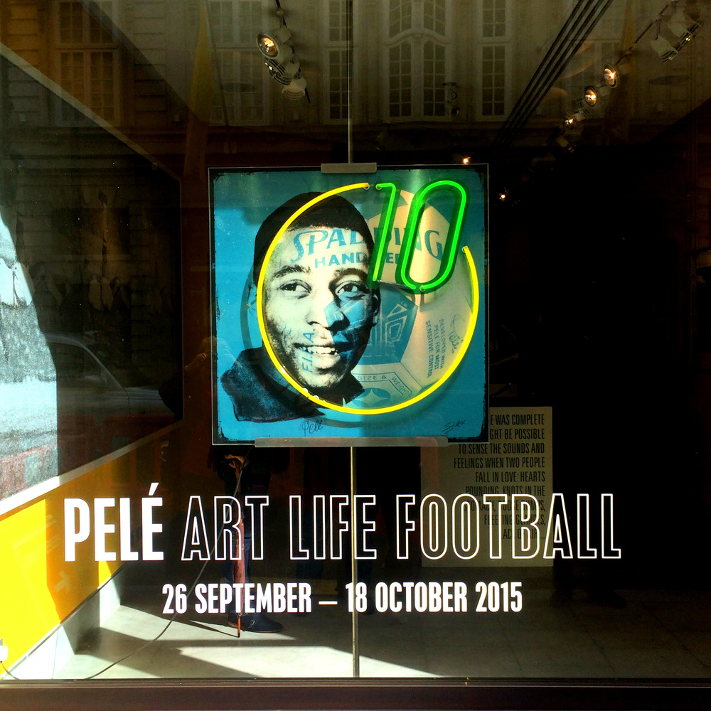 "Louis Sidoli Neon Art: ""Pele Art Life Football"" Exhibition Halcyon Gallery."