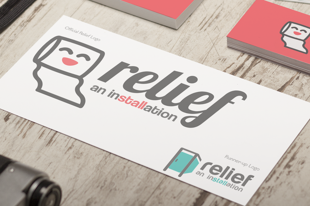 The  RELIEF: An Installation  logo, designed by myself and voted upon by our team. Also shown is an alternative logo that I designed.   Click the image to enlarge.
