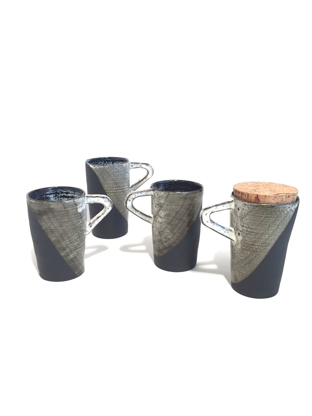 Black Bands Travel Mugs with Cork