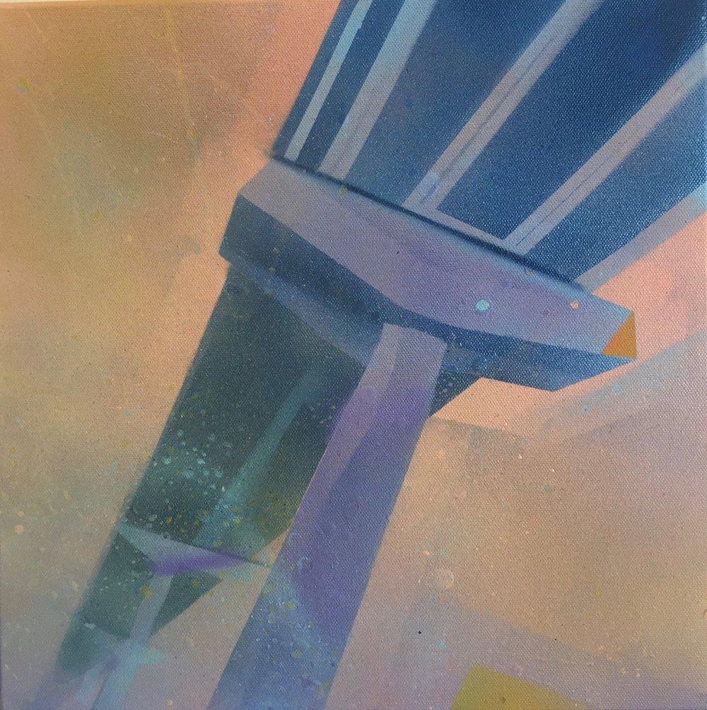 "Freeway Fun 2 , Spray Paint on Canvas, 14"" x 14"", 2017."