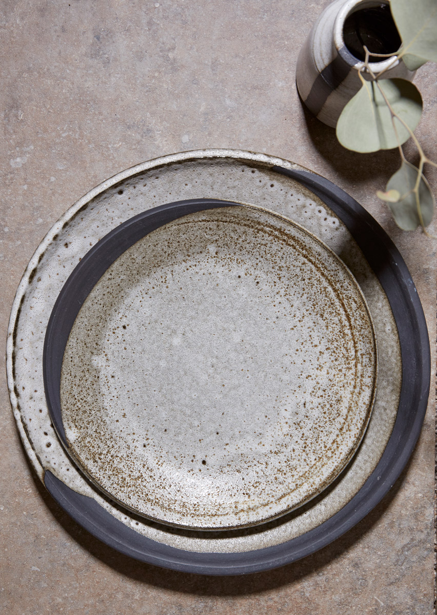 Black Clay Waxing Moon Salad and Dinner Plates