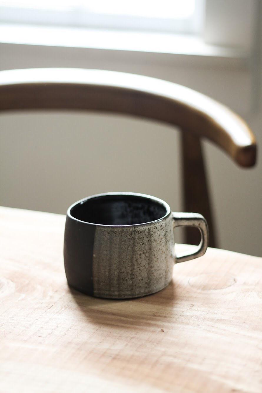 Block Mug in Black Clay