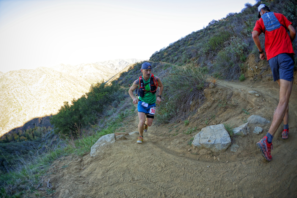 making my way out of Hot Springs Canyon (mile 12.1) after a missed start