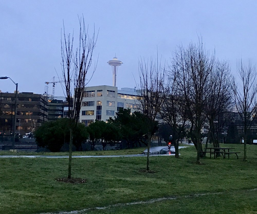 Space Needle running on the Alaska Way footpath - Seattle