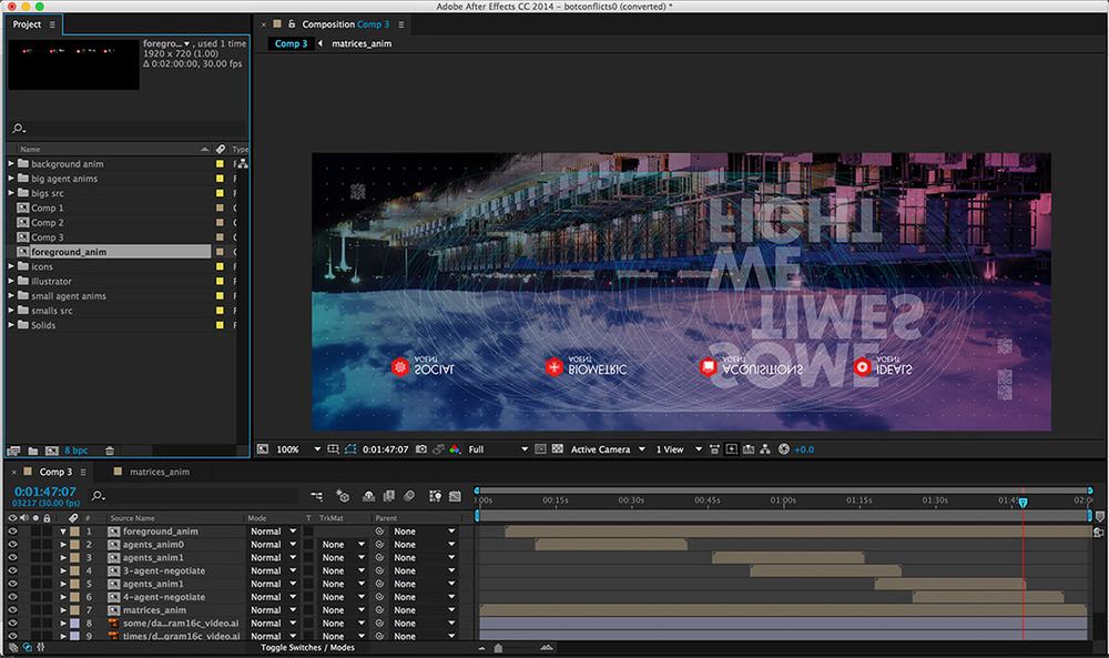 User interface for Adobe After Effects