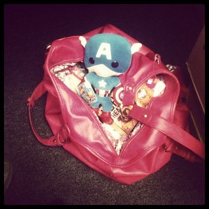 This is my purse the day the first Avengers came out. I'll have to top myself. (Tiny!Cap is                                                                     definitely coming again.)