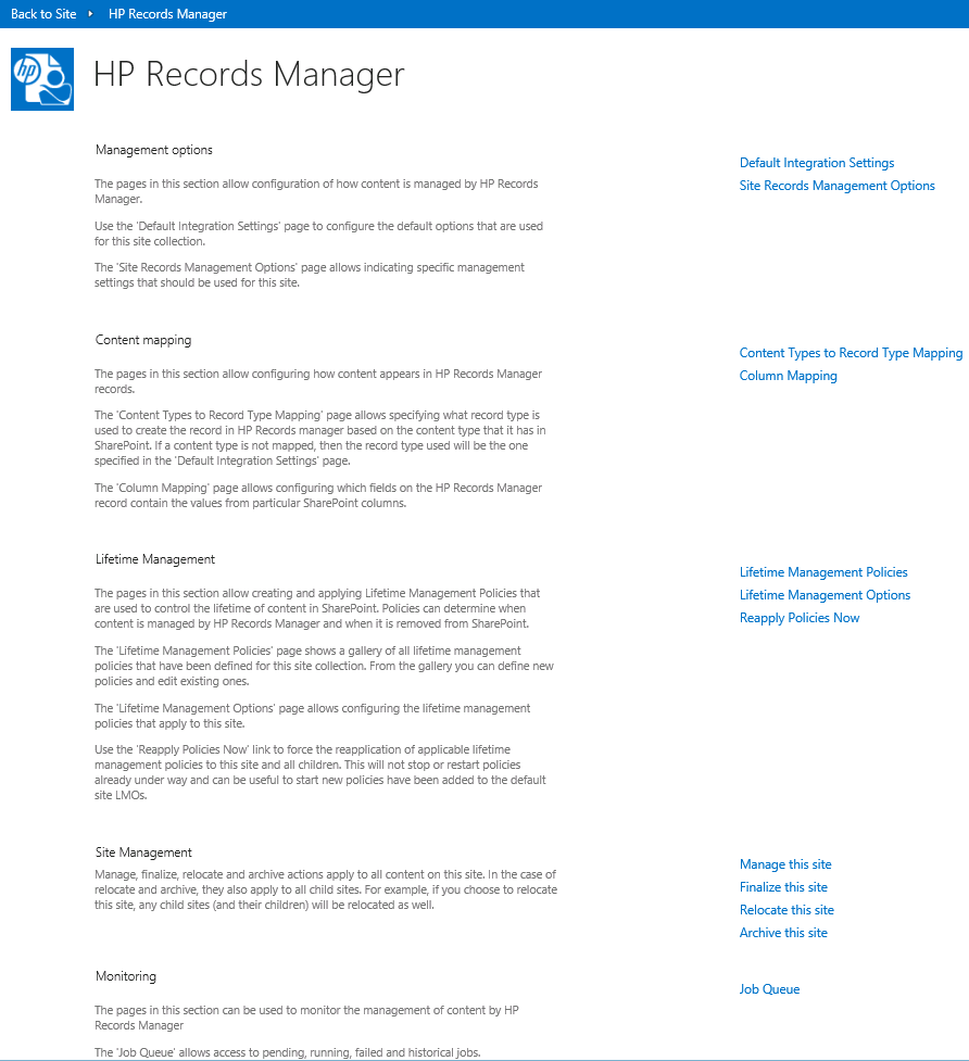 HP Records Manager app start page
