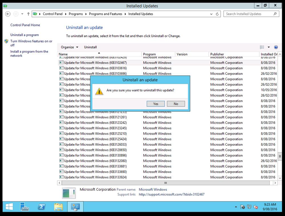 Got 4.6.1? Get rid of KB3102467 (on Windows 2012 R2)