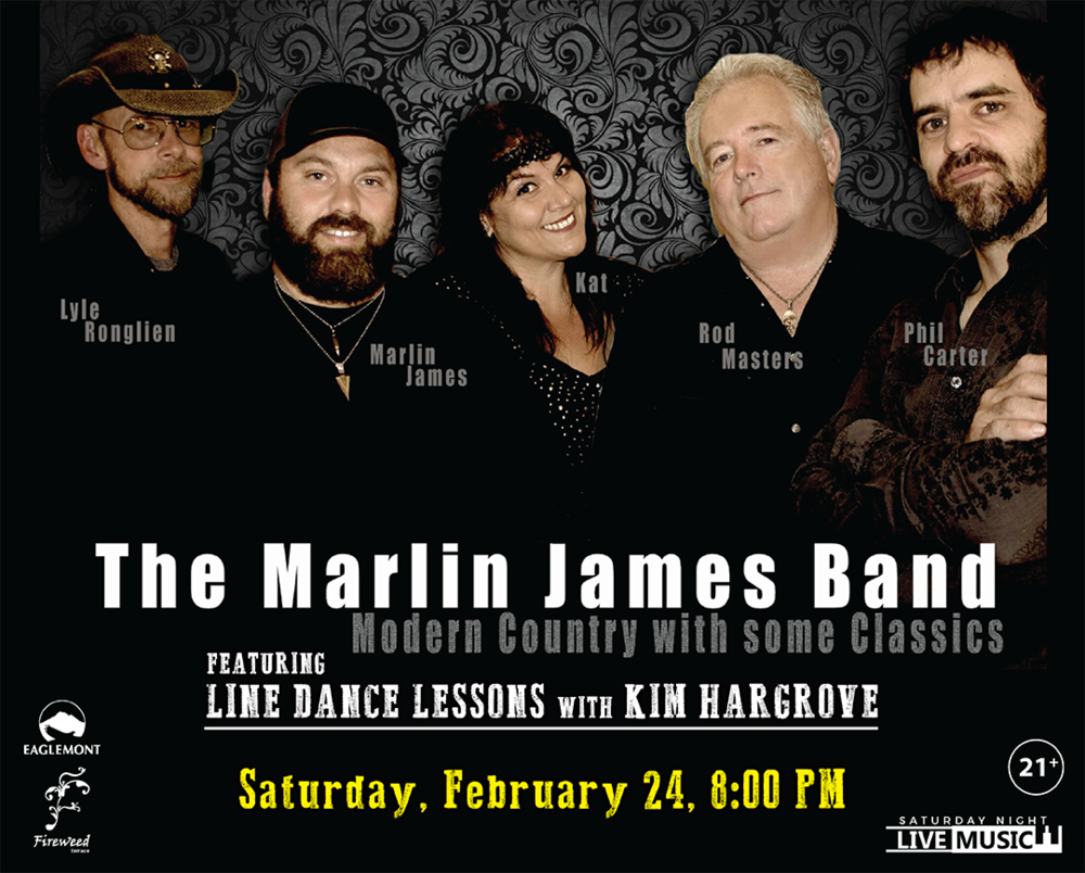 The Marlin James Band featuring Line Dance Lessons with Kim Hargrove - Live at Eaglemont Golf Course 21+ Event Free Admission