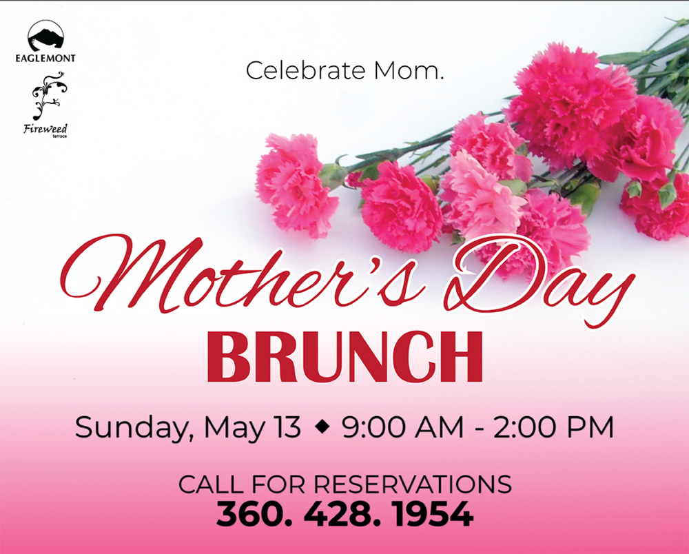 Join us for a special Mother's Day Brunch!  Adult $29 / Children (6-12) $14 / Children (5 & under) Free   Menu -Prime Rib  -Honey Glazed Ham -Omelet Bar -Scrambled Eggs -Eggs Benedict -Smoked Salmon Benedict -Bacon -Sausage -Banana Bread -Homestyle Potatoes -Fresh Fruit -Salad Bar -Potato Salad -Pasta Salad -Cheesecake -Lasagna -Brownie -Cookies -Cereal -Shrimp Cocktail -Biscuits & Gravy -Chicken Fried Steak -French Toast Sticks -Pad Thai