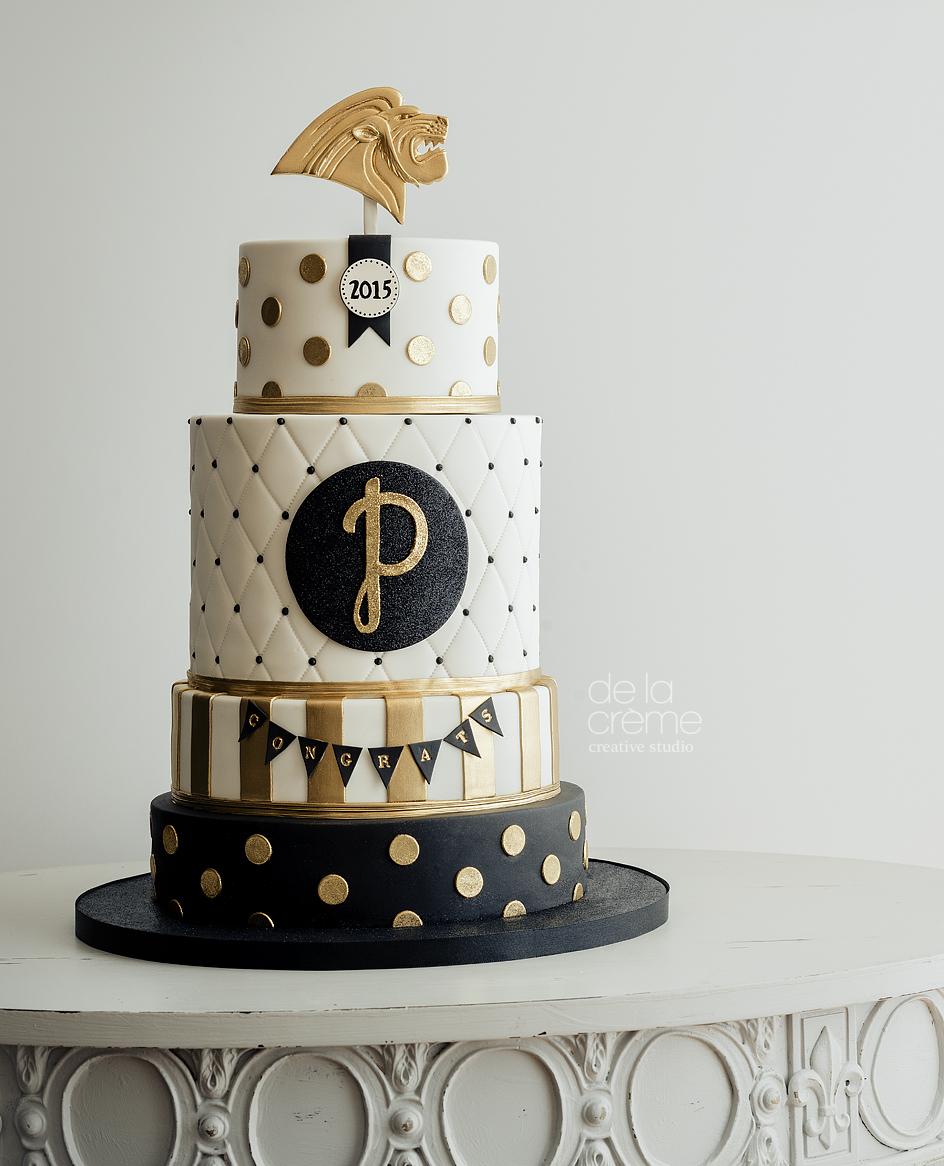 Gold, Glittery, Graduation Cake — De la Crème Creative Studio