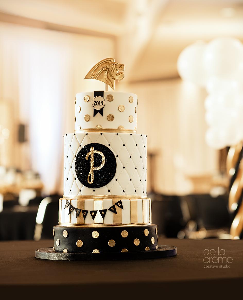 gold  glittery  graduation cake  u2014 de la cr u00e8me creative studio
