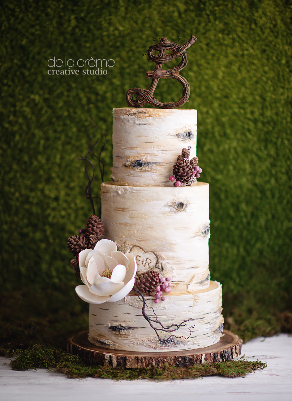Birch Tree Wedding Cake De La Cr 232 Me Creative Studio