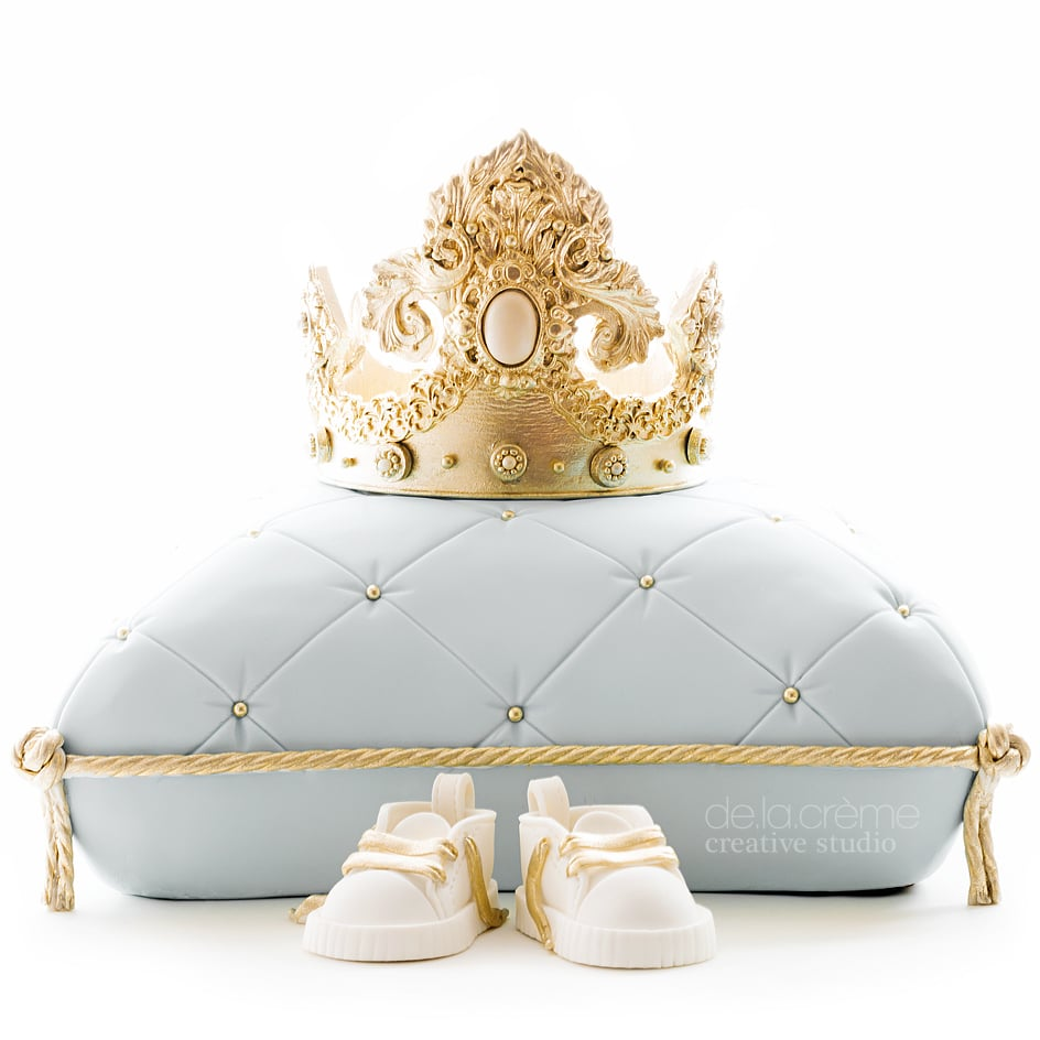royal baby shower cake in french blue de la cr me creative studio