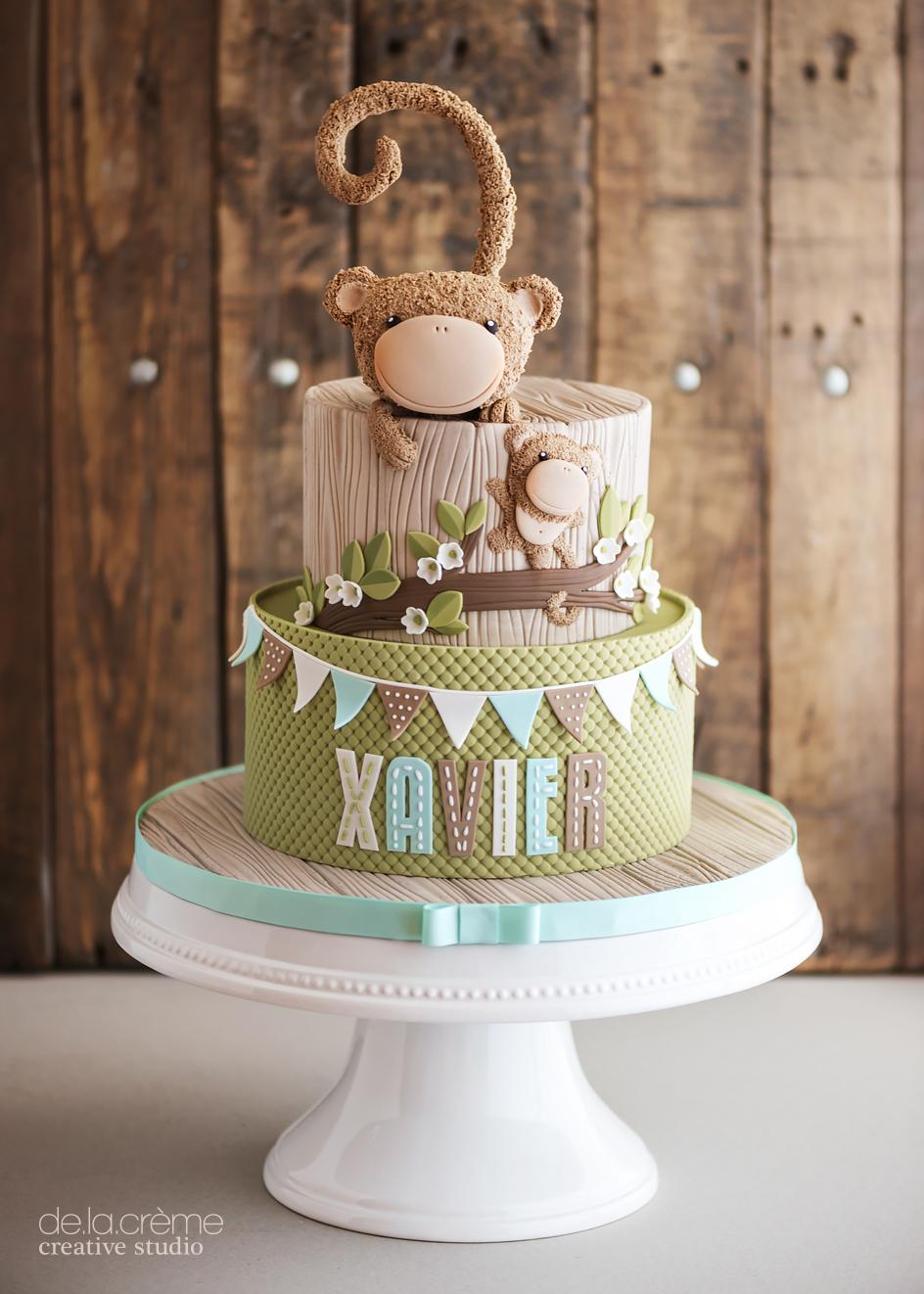 Fuzzy Monkey Birthday Cake De La Cr 232 Me Creative Studio