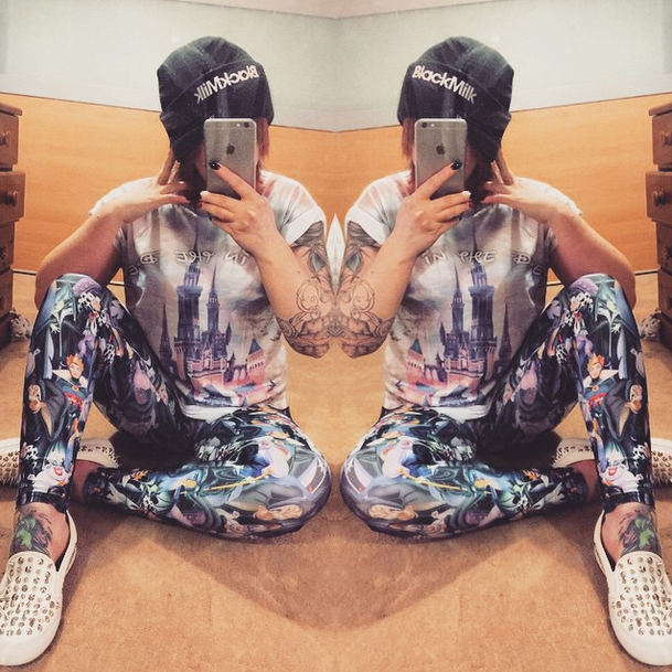Black Milk includes UGC like  this selfie from a customer  who submitted her picture in the Black Milk Disney Villain Leggings.