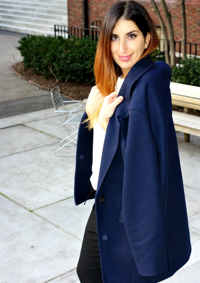Coat / $250 / JCrew ,    Shirt / $79 / Ann Taylor ,    Pants / $98 / Ann Taylor