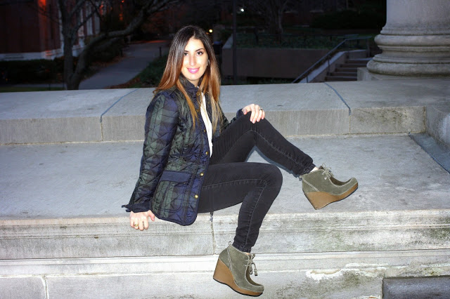Checked Quilted Jacket, Joules $171 , Black jeans, Sold Denim at Bloomingdales, Wedge heels, Report.